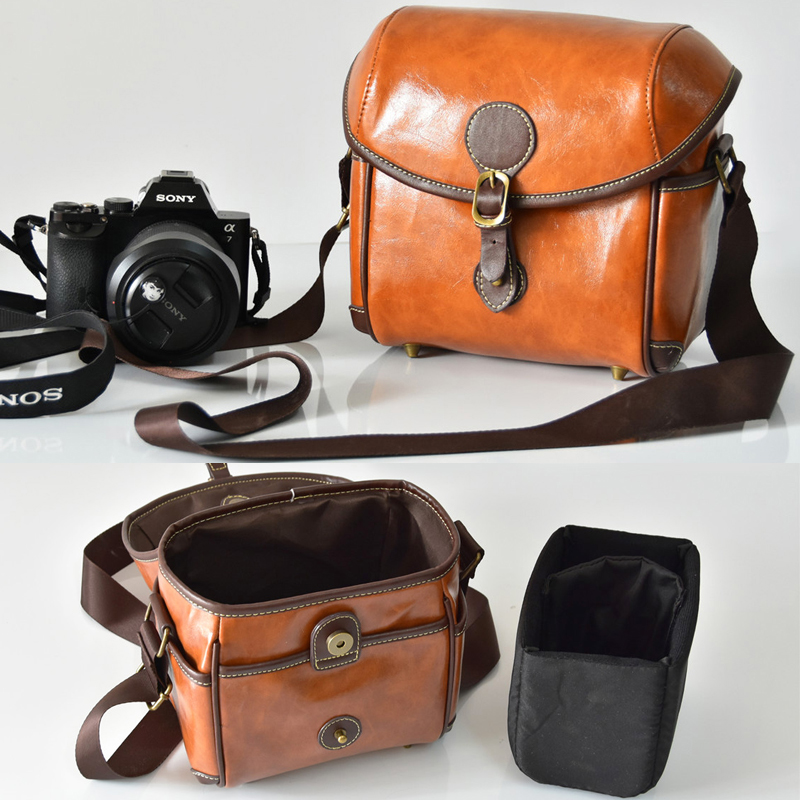 PU Leather Retro DSLR Camera Bag Case For Olympus E-M10 MarkII E-M5 PEN-F E-PL8 E-PL7 E-PL6 E-PL5 E-PL3 E-PL2 E-PL1 E-P5 E-P3