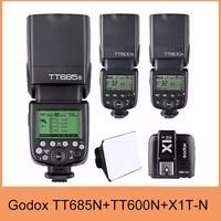 Godox TT685N TTL HSS Speedlite Flash For Nikon +2x TT600 +X1T N 2.4G Transmitter