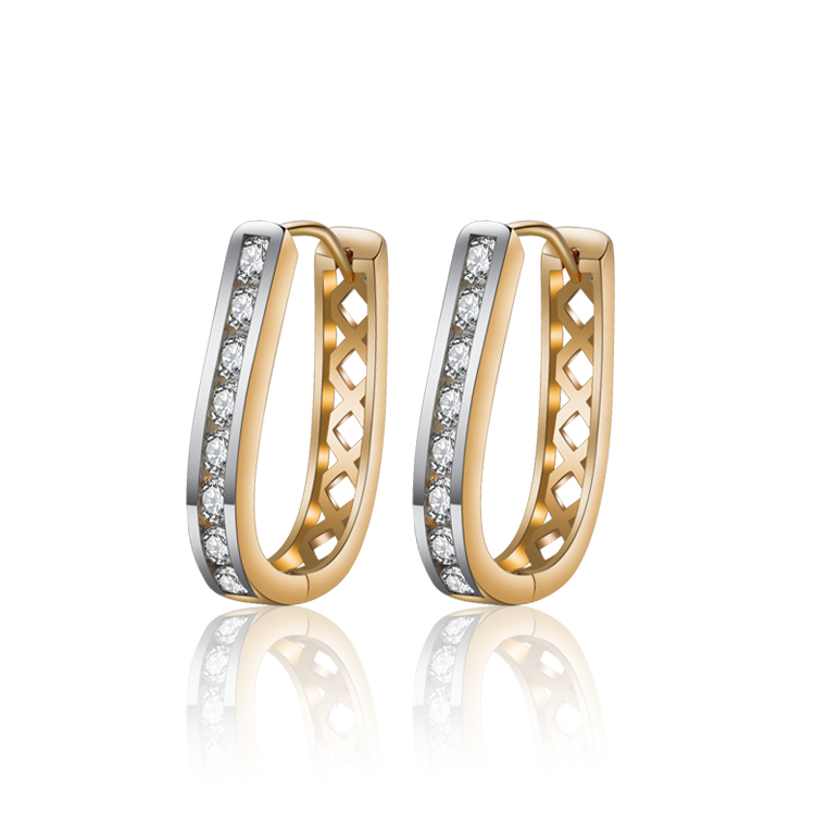 2019 Gold-Color Big Hoop Earrings For Women Brinco Crystal Zircon - Fashion Jewelry