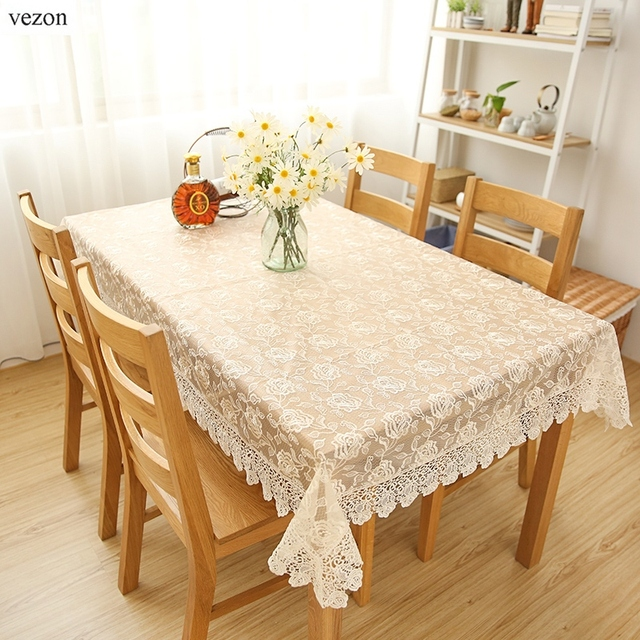 Vezon New Hot Sale High Quality Luxury Full Lace Rose Tablecloth Elegant  Wedding Red Lace Table