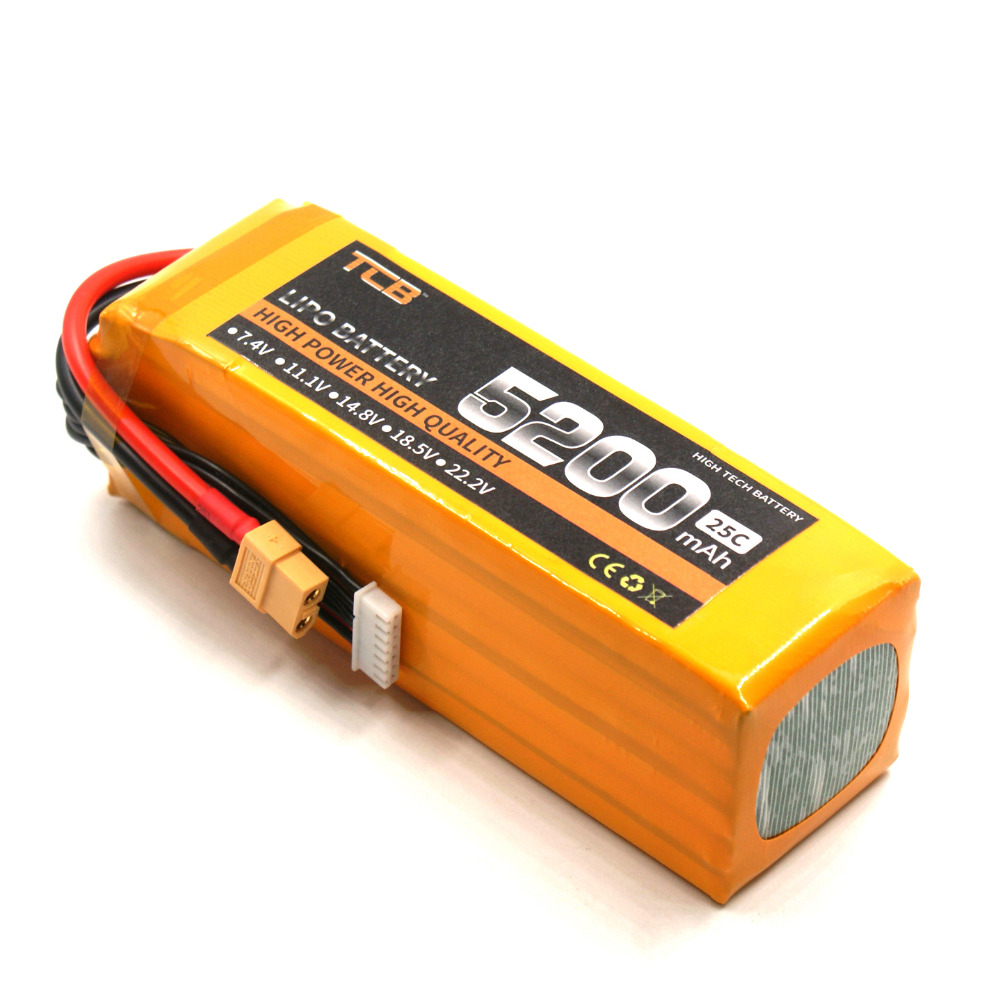 TCB RC lipo battery 22.2V 5200mAh 25C 6s for rc airplane car helicopter four axis 6S RC high-power batteria 1s 2s 3s 4s 5s 6s 7s 8s lipo battery balance connector for rc model battery esc