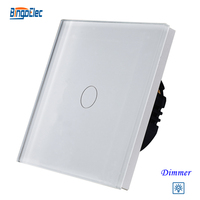 1gang 700W Light Dimmer Switch White Crystal Toughened Glass Panel Touch Sensor Dimmer Switch EU UK