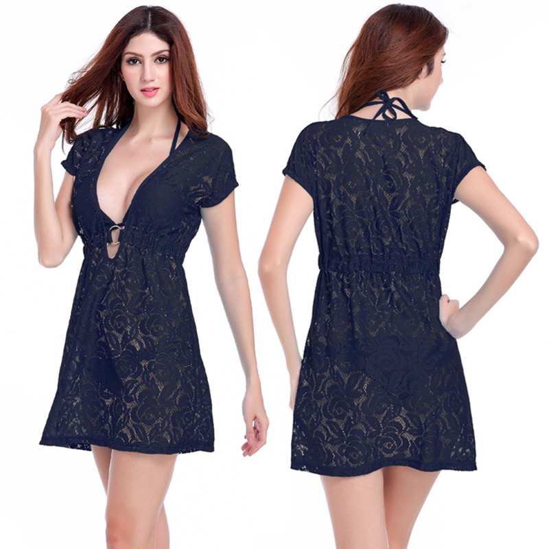 New Arrival Women's Sexy Hollow Out Lace Cover Ups Beachwear Solid - Women's Clothing - Photo 5