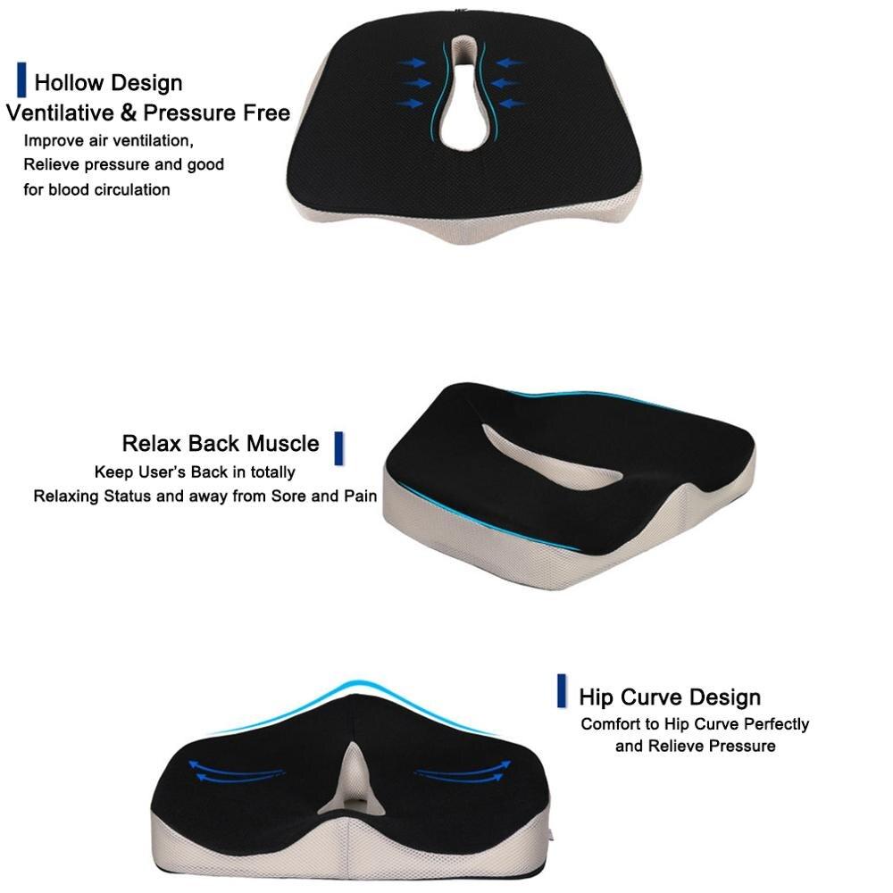 Coccyx Memory Foam Chair Orthopedic Pillow Office Seat Pad Hemorrhoid Treat Car Seat Big Cushion Relief Coccyx Memory Foam Chair Orthopedic Pillow Office Seat Pad Hemorrhoid Treat Car Seat Big Cushion Relief Pain Tailbone Pillow