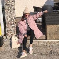 הקרן החורף קוריאני Vent ארוך דואר חבילה למטה חליפת שמלת בגדי כותנה מרופדת קל לחם כותנה עיבוי רופף מעיל