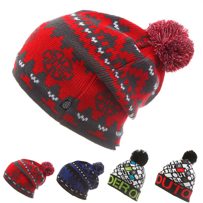 Unisex Men Women Skiing Hats Warm Winter Knitting Skating Skull Cap Hat Beanies Turtleneck Caps Ski Cap Snowboard