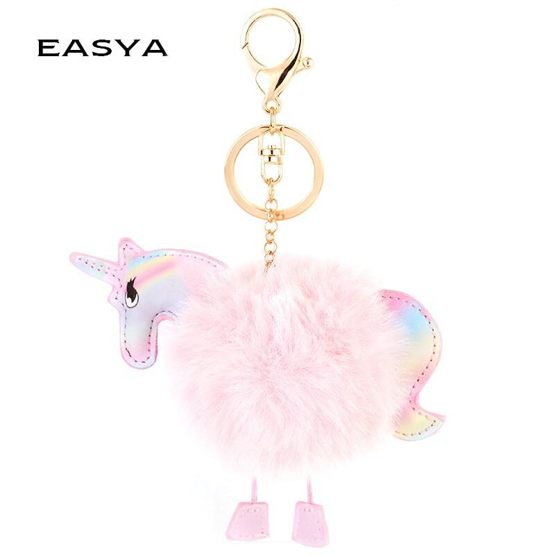 EASYA JEWELS Official Store EASYA Pink Unicorn Keychain Fluffy Fur Keychain Fur Pompon Horse Key Ring Women Bag Jewelry Handbag Pendant Fashion Accessories