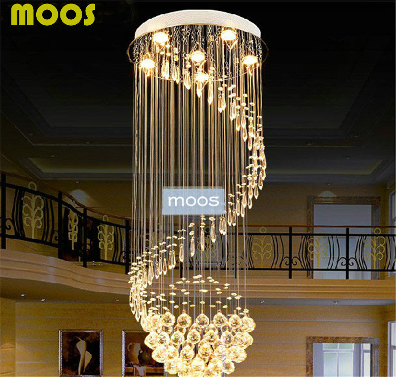 Modern large ball design spiral k9 crystal chandelier long stair led modern large ball design spiral k9 crystal chandelier long stair led lights home decorative ceiling fixture lighting lamparas in pendant lights from lights aloadofball Images
