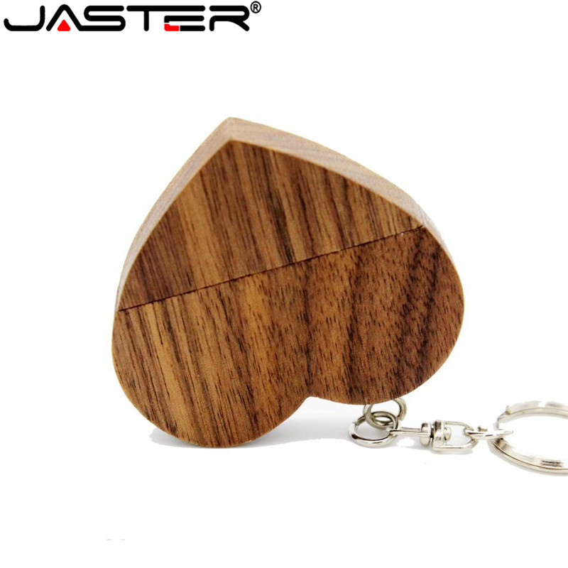 JASTER (free Custom Logo) Wooden Love Heart Usb Flash Drive Hearts With Keychain Pendrive 4GB 8GB 16GB 32GB 64GB Customer LOGO