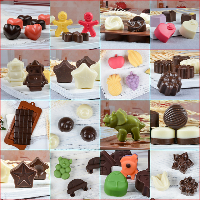 New Silicone Chocolate Mold 24Shapes Chocolate Baking Tools Non-stick Cake Mold Jelly&Candy Mold 3D Mold Decoration DIY Hot Sale 5