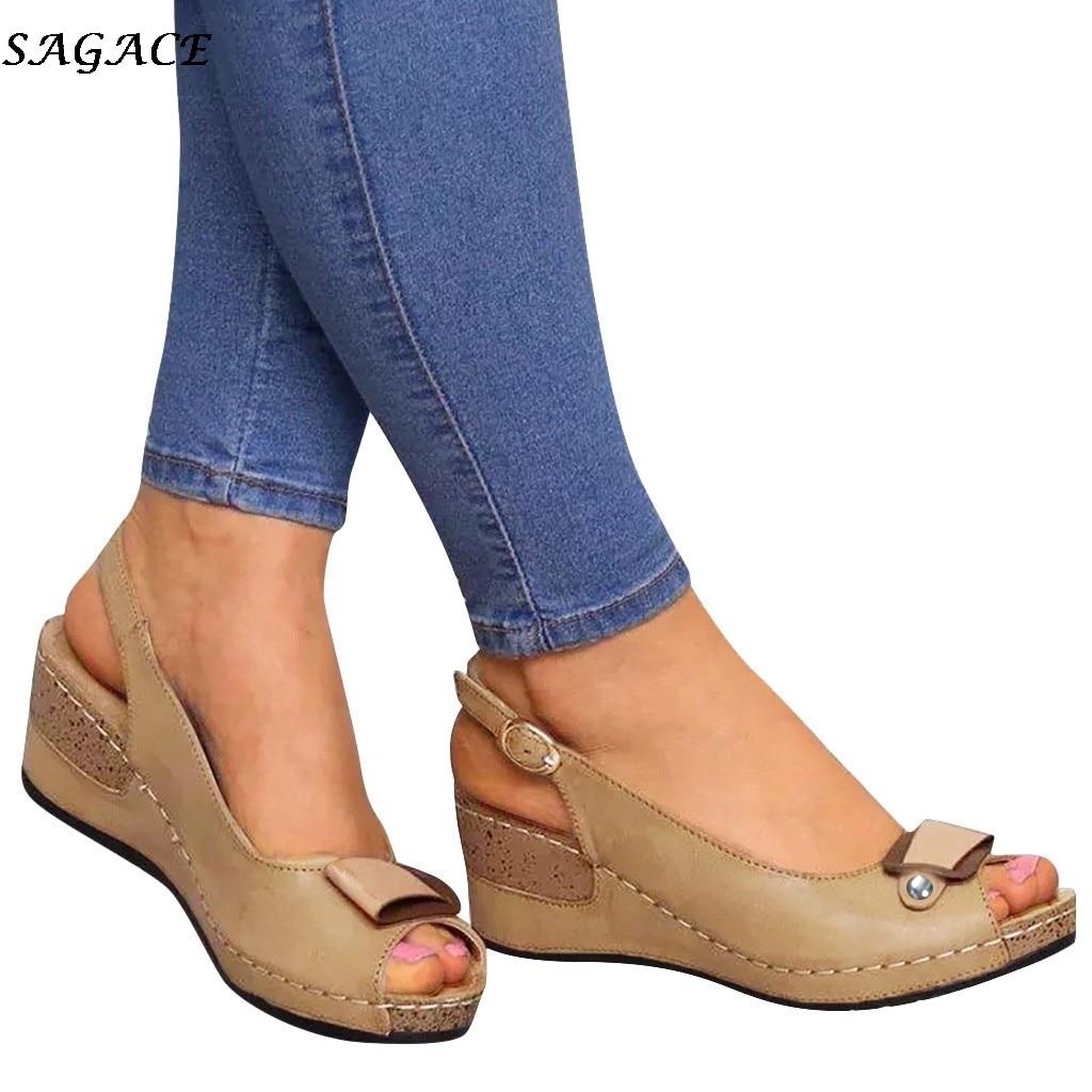 SAGACE Platform Sandals Wedges-Shoes Open-Toe High-Heel Femme Women Pumps Feminina Casual
