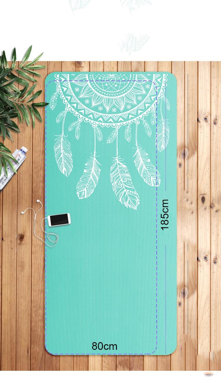 Tapis de yoga en NBR vert attrape-rêves, 185 x 80cm x 10mm