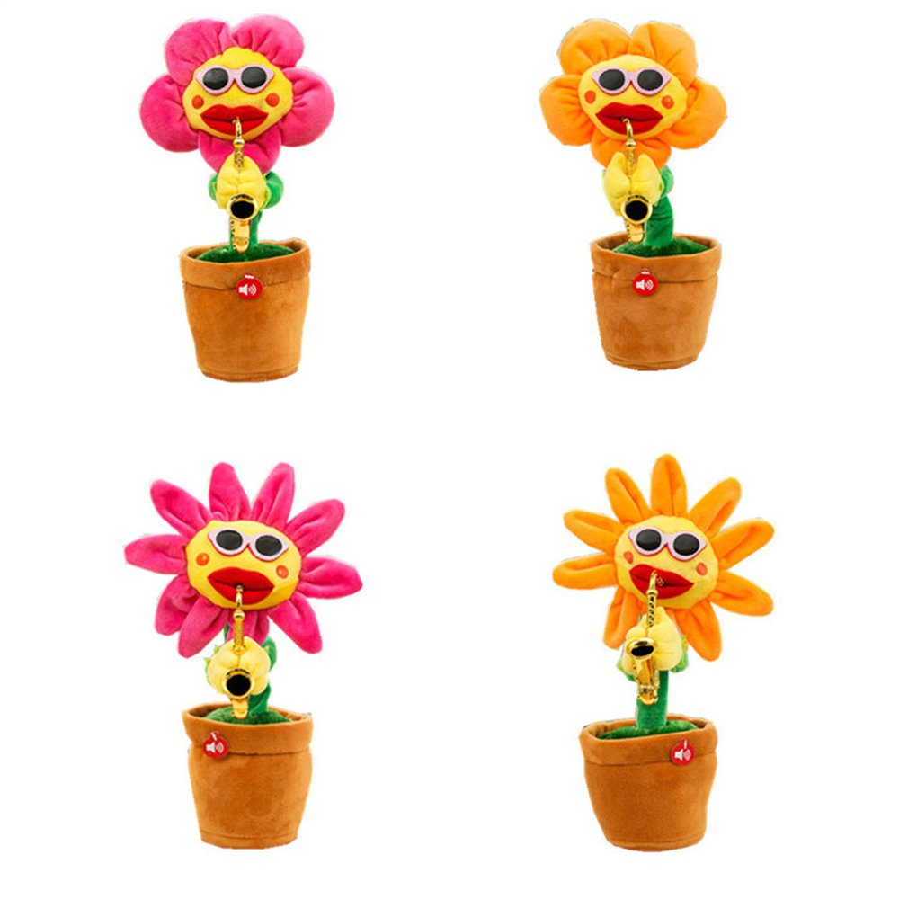 Singing Dancing Sunflower <font><b>Toy</b></font> with Saxophone Bluetooth USB Charging Electric <font><b>Toy</b></font> Soft Stuffed Plush <font><b>Toys</b></font> for Kids Christmas Gift image