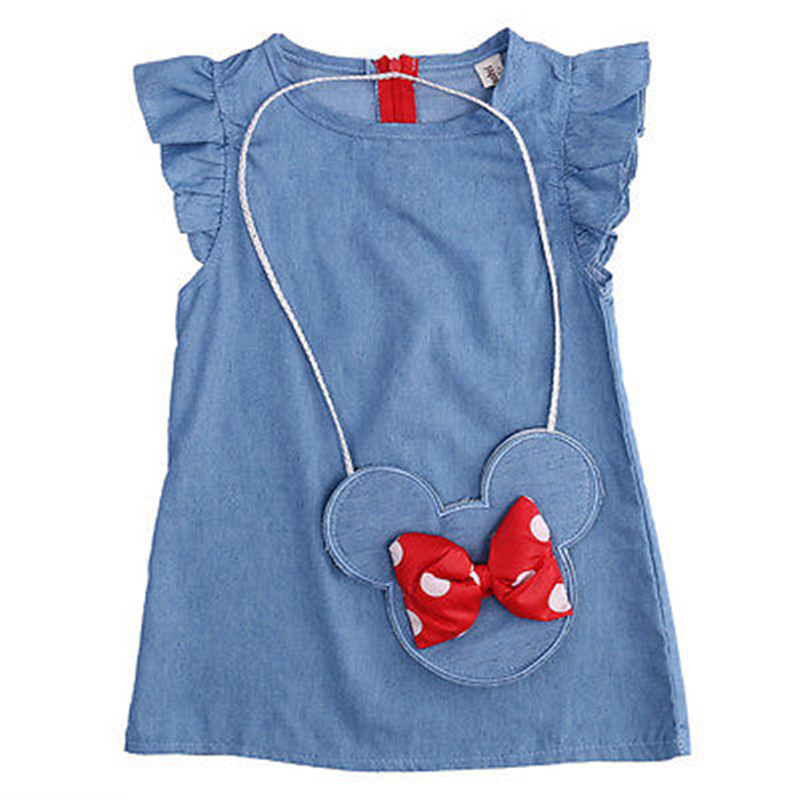 HOT Summer lovely girls denim dresses Petal Sleeve solid baby costume and mouse bag 2pcs baby clothing sets kids frock designs
