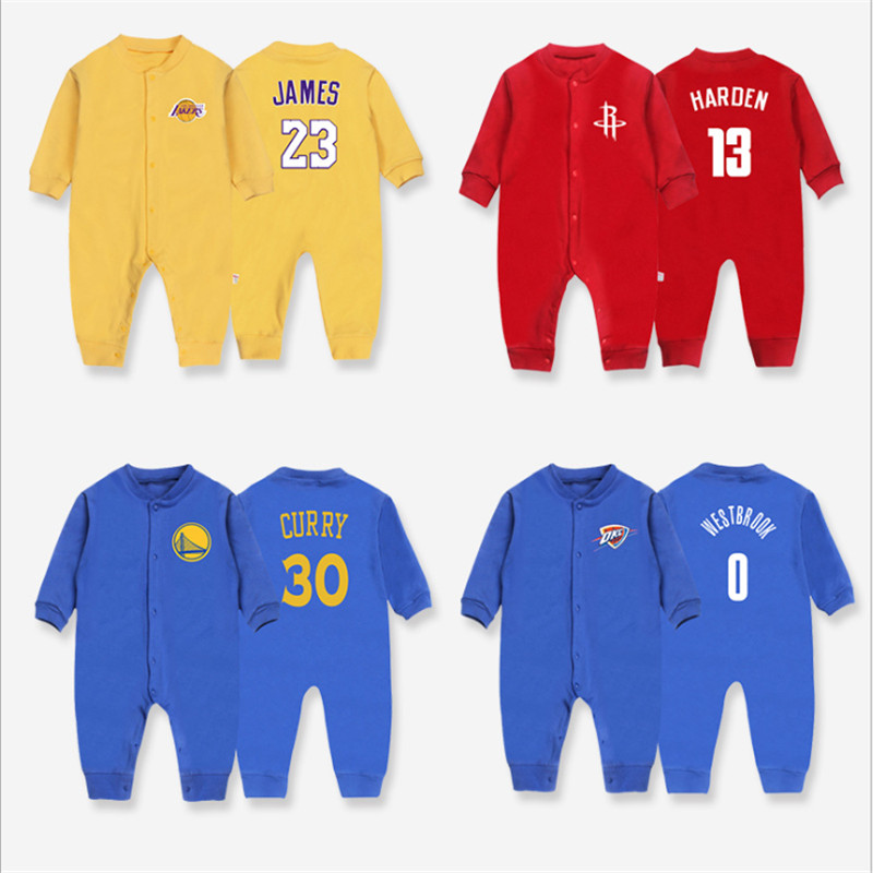 2018 Autumn Unisex New Born Boy&Girl Clothing 100%Cotton Basketball Long Sleeve   Romper   Baby Sport Clothes Jumpsuit Baby Clothing