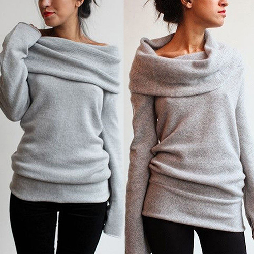 New Arrival Women Sexy Casual Off Shoulder Roll Neck Long Sleeve Knitted Jumper Sweater Top 2