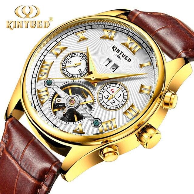 Tourbillon Skeleton horloge KINYUED High end Mechanische Horloge mannen Kalender White Gold dial Waterdichte Lichtgevende Automatische horloges