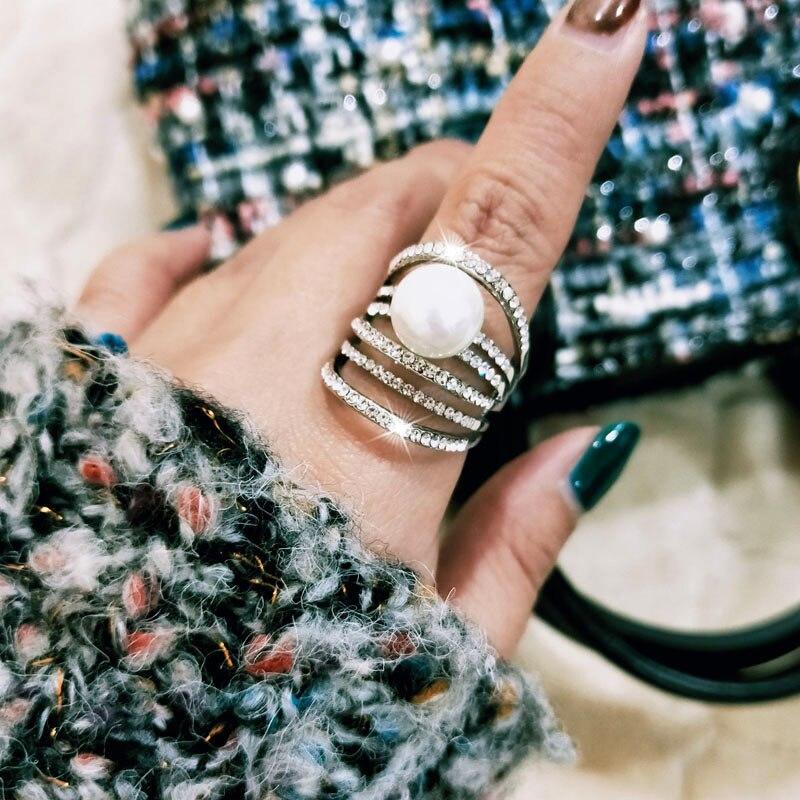 100% Wahr Sinleery Luxus Multilayer Cubic Zirkon Simulierte Perle Big Ringe Für Frauen Größe 8 9 10 Silber Gold Farbe Hochzeit Schmuck Jz544 Den Speichel Auffrischen Und Bereichern