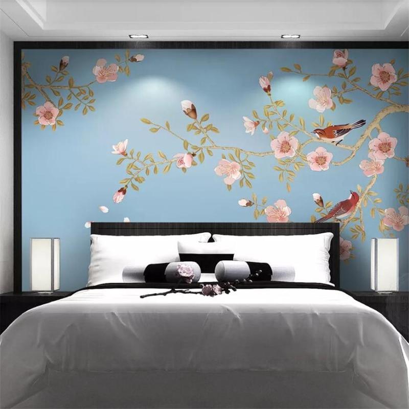 Wellyu Custom Wallpaper 3D Murals New Chinese Style Elegant Peach Hand-painted Pen Flower Bird Mural TV Background Wall Paper