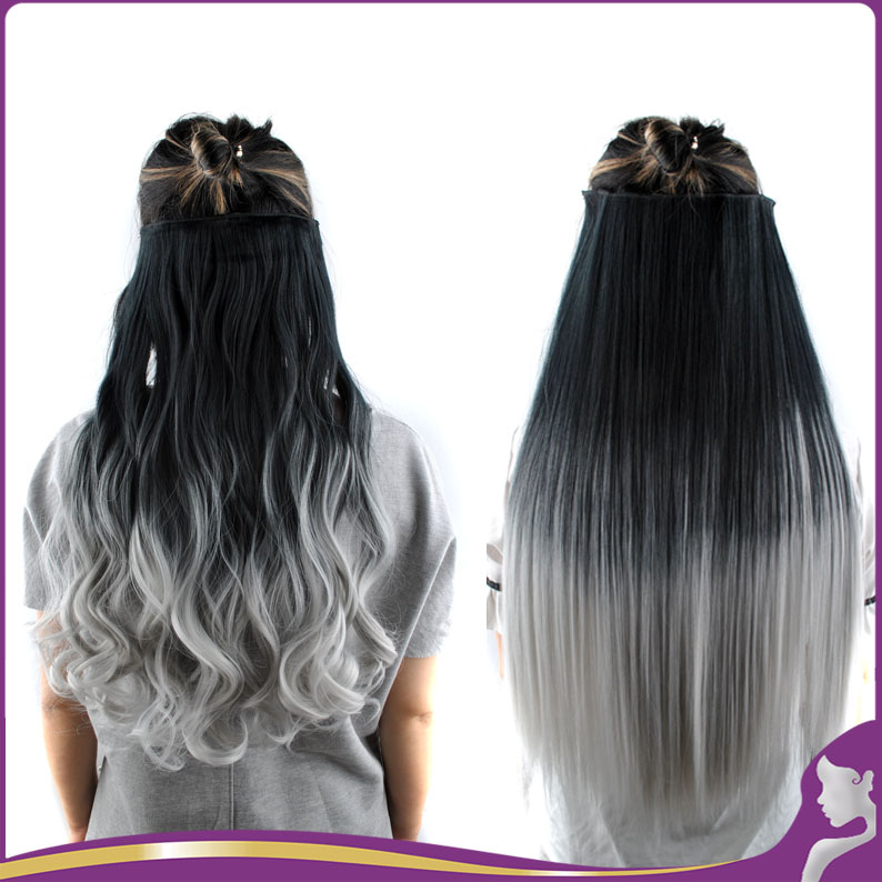 26 Quot 3 4 Full Head Clip In Hairpiece Curly Wavy Ombre Color