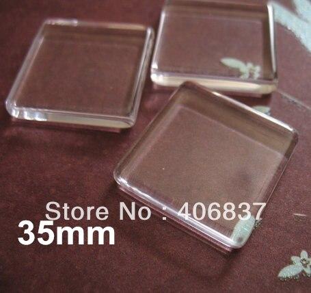 50pcs/Lot, Good Quality 35mm Flat <font><b>Square</b></font> Transparent Clear Magnifying Glass Cabochon