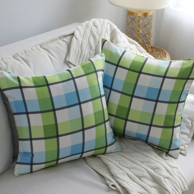 Aliexpress Buy Japanese Garden Cushion Green Plaid Sofa Seat