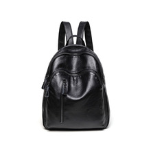 цена на New Korean fashion wild Leather leather backpack women luxury brand women's travel bag Sheepskin soft leather school bag