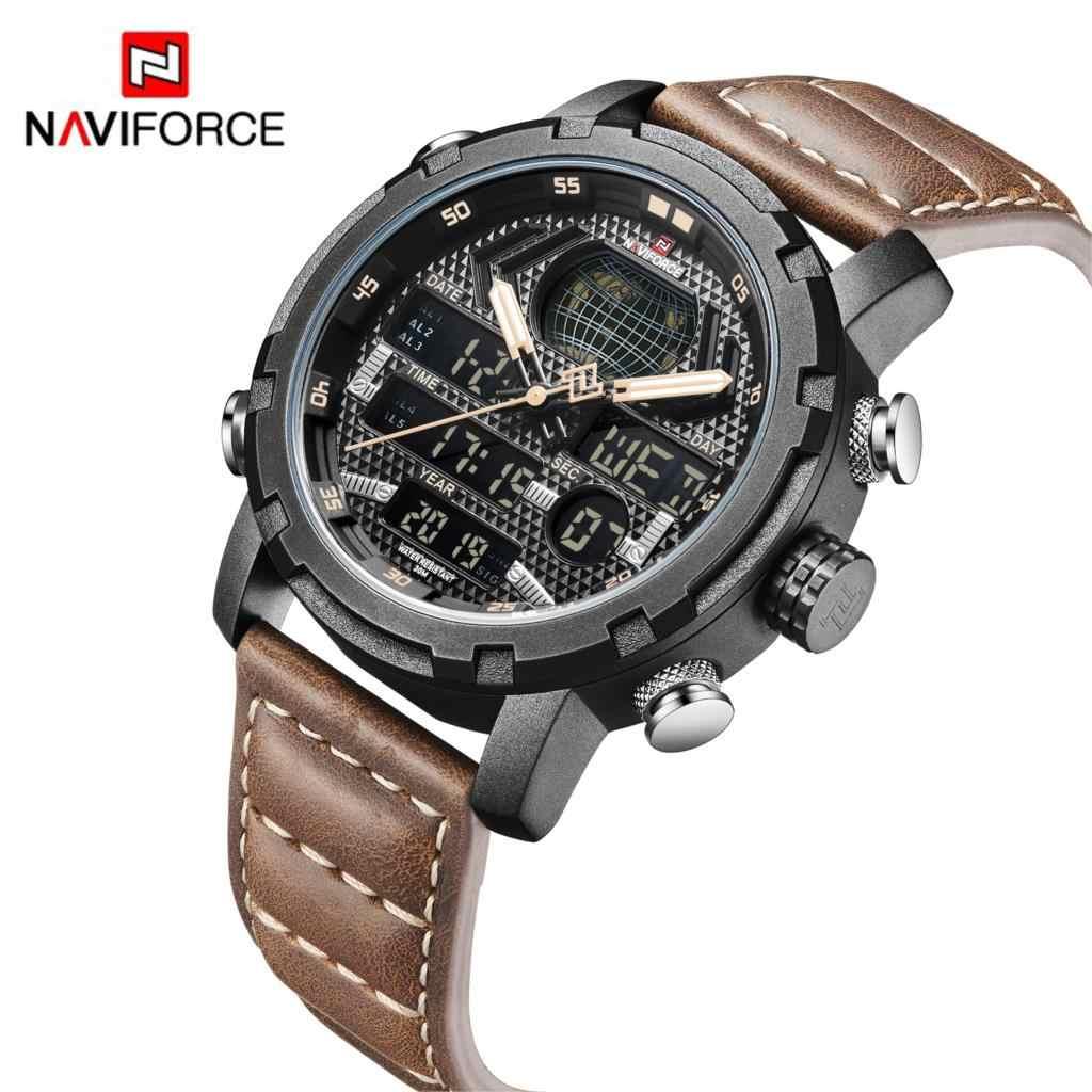NAVIFORCE Mens Watches Top Brand Luxury Sport Watch Men Leather Strap 30M Waterproof Miliary Dual Display Wrist Watch Clock 2019