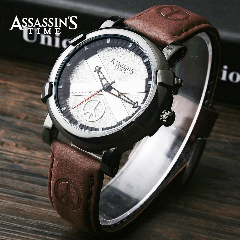 Assassins Time Brand Watch Men Quartz Male Watches Äkta Läder Rem - Herrklockor - Foto 5