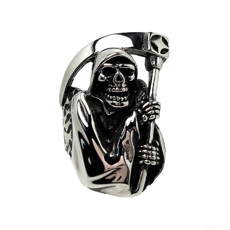US $3 8 19% OFF|Drop Shipping Creative Death Skull Sickle Titanium  Steel/Stainless Steel Retro Male Ring Punk Rock Ring G0611-in Rings from  Jewelry &