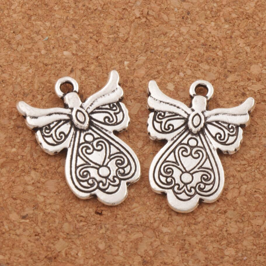 Guardian Angel Charm Beads 23.8x18.1mm 100pcs Antique Silver Pendants Alloy Handmade Jewelry DIY Jewelry DIY L209