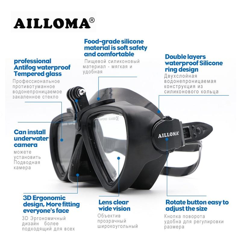 AILLOMA Réglable Boucle Caméra Plongée Masque Tuba Ensemble Complet Sec Tube Plongée En Apnée Anti-Brouillard Lunettes Plongeur équipement Ailettes - 3