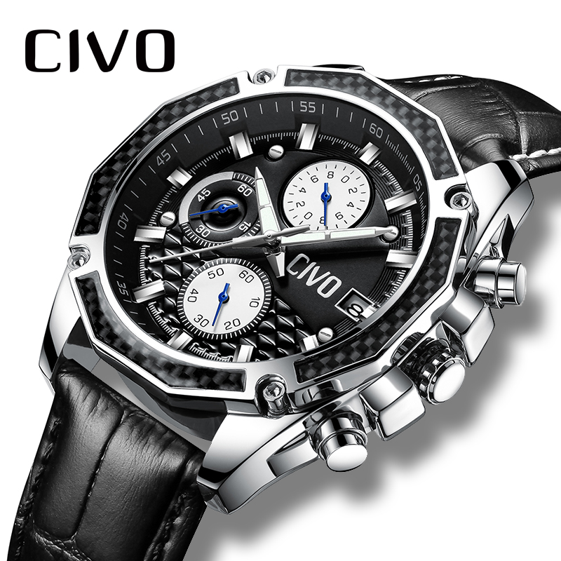 CIVO Watch Men Waterproof Chronograph Analogue Quartz Wrist Watch Black Brown Genuine Leather Business Casual Men's Watch Clock стоимость