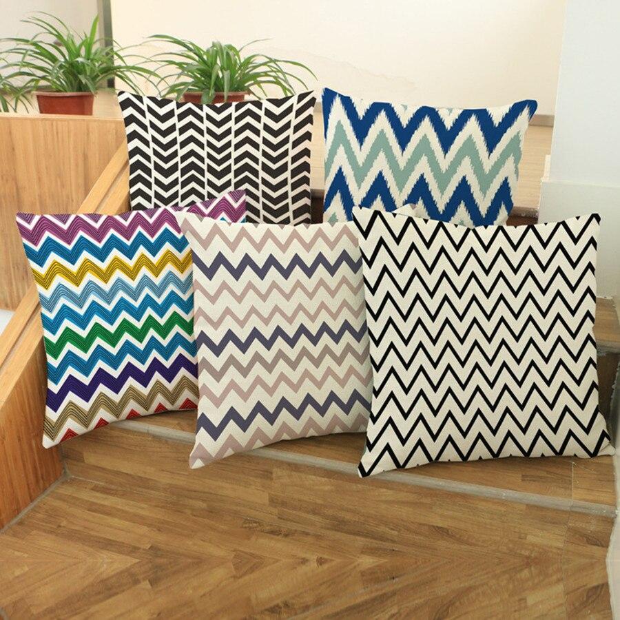 Shop home decor chevron stripes pillow from shop home decor - Fashion High Quality Cotton Linen Colorful Geometry Wave And Stripes Car Decorative Throw Pillows Cushion Sofa