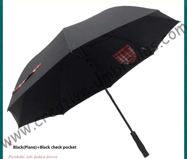 (3pcs/lot)210T pongeee visible double layers golf umbrellas.fiberglass,auto anti static,anti-thunder,inner pocket inside panel