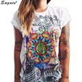 Trendy Summer Women Short Sleeve T Shirt Hip Pop Steet Dancing Casual Tops Mystery Totem Print Loose O Neck Tees Aug1