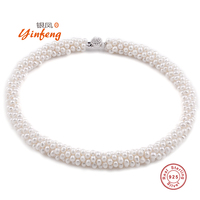 2015 Natural 100 Genuine Pearl Necklace Mother Gift Precious Round White Pink Purple Pearl Jewelry Choker