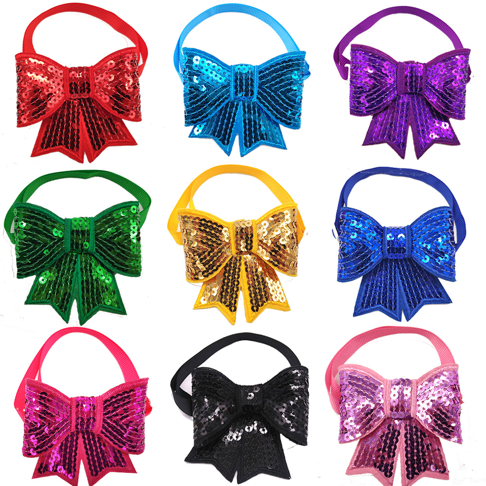 10 Pcs Sequin Christmas Dog Bow Tie Hot Selling Beautiful Dog Bow Tie For Puppy Cat Adjustable Strap Pet Grooming Accessories