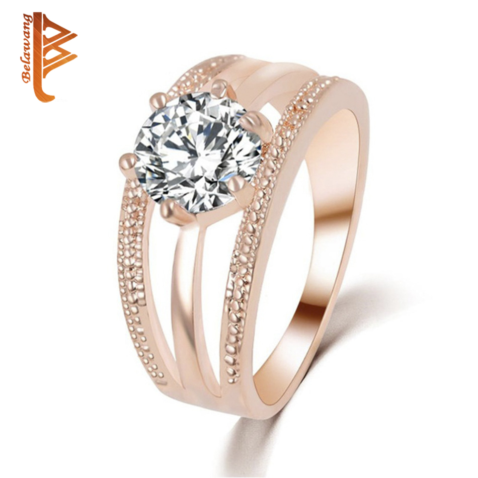 BELAWANG Austrian Crystal Rose Gold Color Flower Ring for Women Engagement Wedding Multi-layer Rings Fashion Jewelry