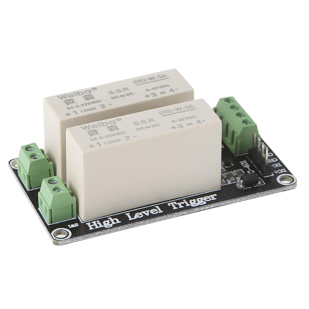 все цены на  2 Channel SSR Solid State Relay High Lever Trigger 5A 5v12v For Arduino Uno R3 APR11_10  онлайн