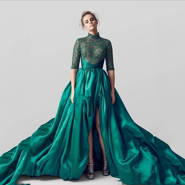 Fashion Dark Green Emerald Super Hemline Floor Length Formal Dresses
