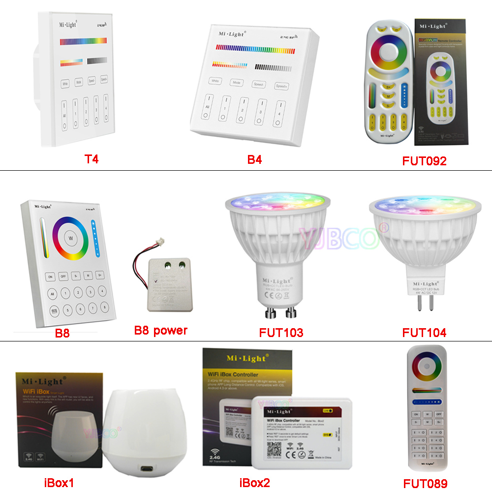 MiBOXER 4W FUT103 GU10 FUT104 MR16 RGB+CCT LED Spotlight Bulb AC110V 220V FUT089/FUT092/B8/B4/T4/iBox1/iBox2 2.4G Remote Control