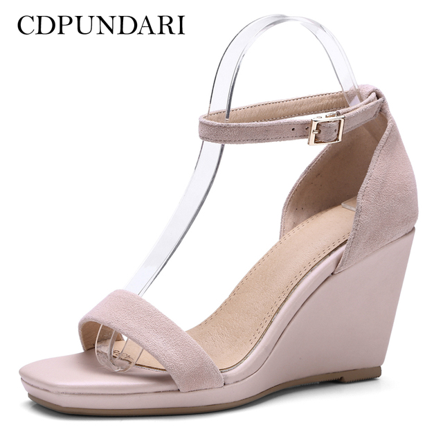 8f8842db042 CDPUNDARI Kid Suede Women High heel Sandals Ladies Platform Wedges Sandals  summer shoes woman