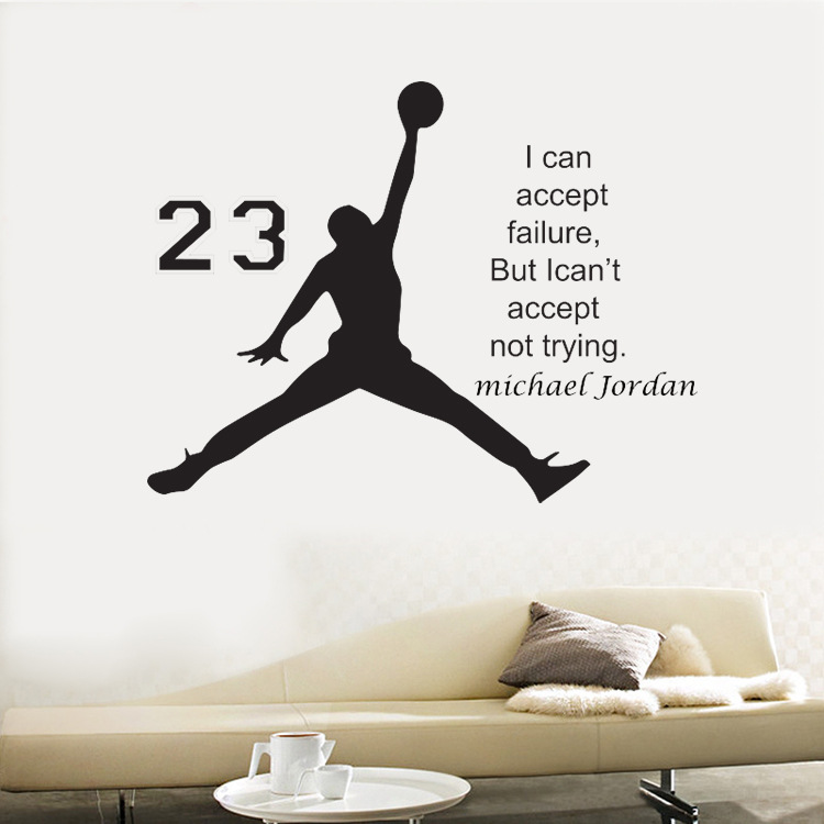 Us 6 36 Michael Jordan Basketball Inspirational Vinyl Wall Stickers Quote For Kids Room Decor Boys Diy Art Mural Removable Decals In Wall Stickers