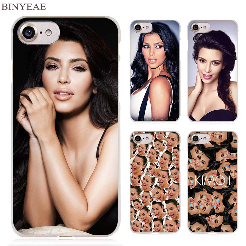 super popular 5b68b d9da6 US $1.91 34% OFF|BINYEAE Kim Kardashian Kimoji Clear Cell Phone Case Cover  for Apple iPhone 4 4s 5 5s SE 5c 6 6s 7 Plus-in Half-wrapped Case from ...