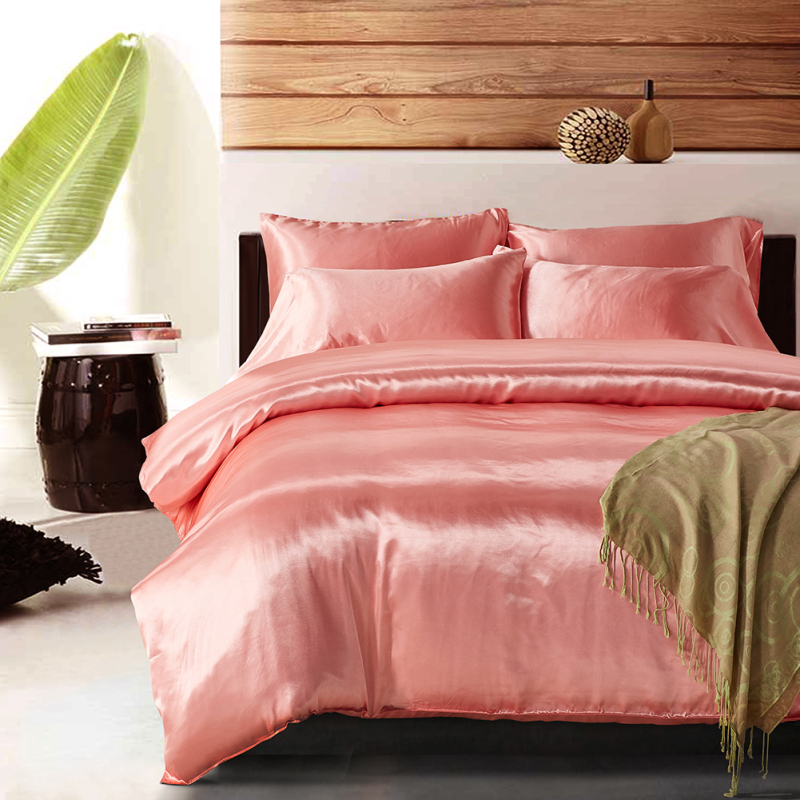 Luxury Pink Satin Silk Bedding Set Summer Feeling Cool Pillowcase Duvet Cover UK Double King Size Soft Sleeping Products