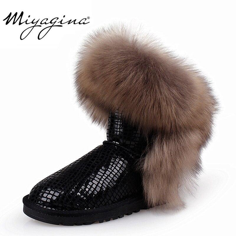 Ayakk.'ten Ayak Bileği Çizmeler'de En Moda 2019 kadın Doğal Tilki Kürk Kar Botları 100% Hakiki Inek Deri Kış Çizmeler Kadın Kış Ayakkabı Kadın çizmeler'da  Grup 1