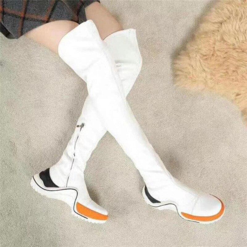 Le Cuisse Slouch Bout As Sneaker Sexy Slim Rond Décontractées 2018 Mode Femmes Nouveau Haute Plat Zipper as De Up Chaussures Pic Sur Bottes Avec Pic Genou RvHwqX