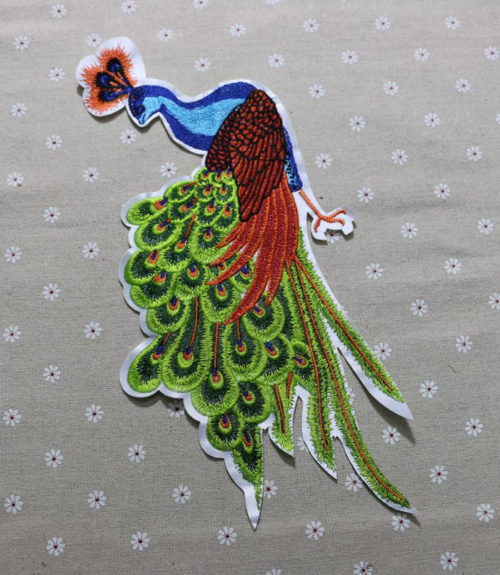 Peacock patch embroidered applique patch cloth decoration patch 14.5*31cm