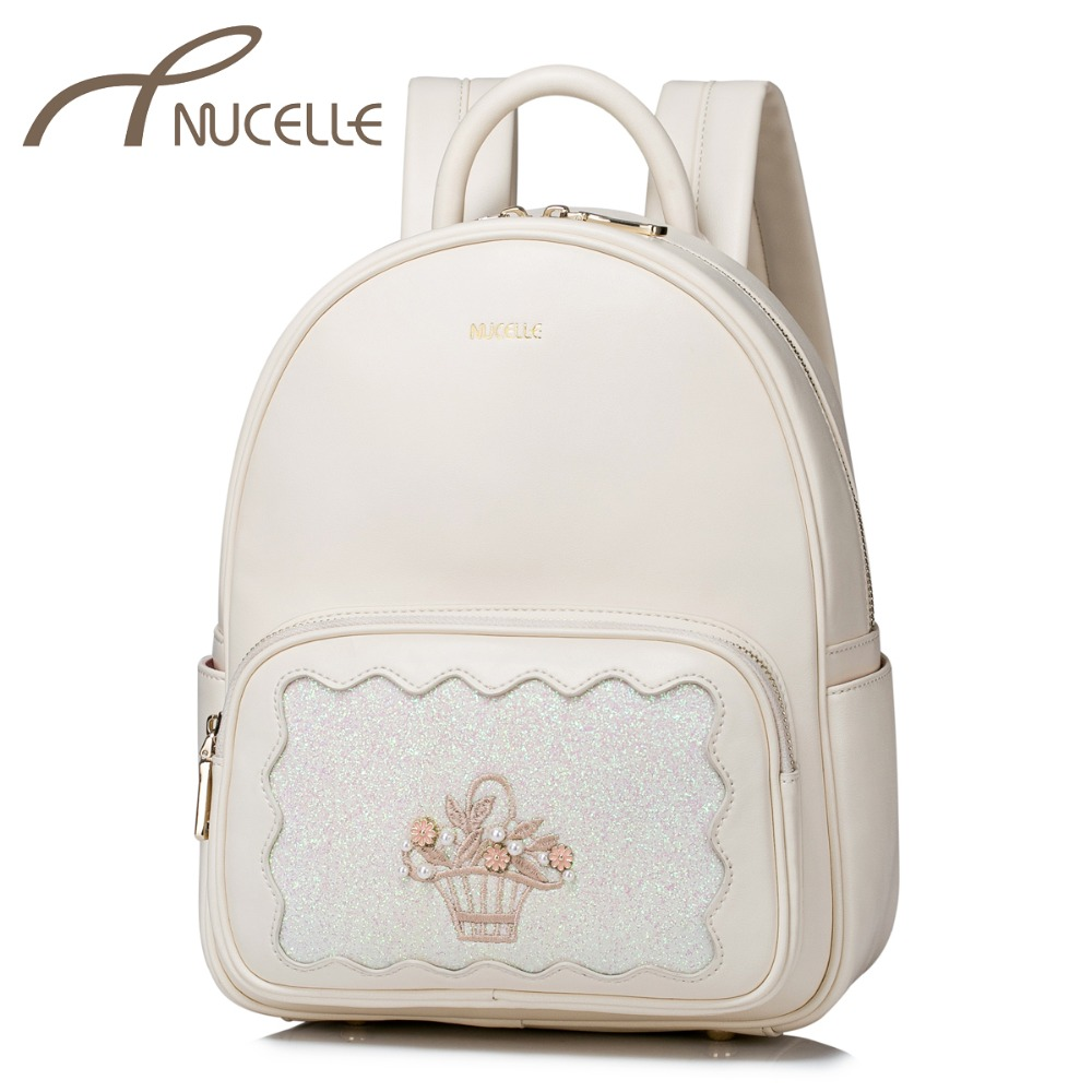 NUCELLE Women PU Leather Backpack Fashion Female Embroidery Leisure Daily Double Shoulder Bags Ladies Travel Rucksack NZ41032